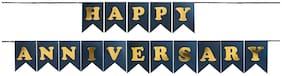 Hippity Hop Happy Anniversary Bunting Banner Anniversary Decoration Items Home Bedroom Wedding Anniversary D cor Black 1 piece