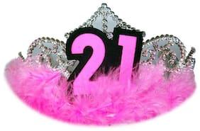 Hippity Hop 21St Birthday Party Crown Boys Men Girls Women Gem Feather Pink Headband Hairband Crowns Prop (Twenty One)
