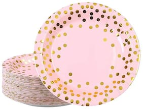 HIPPITY HOP Pink and Gold Foil Polka Dot Disposable Paper Plates Dinnerware Plates for Party;9 inches (Pink) (Pack of 10)