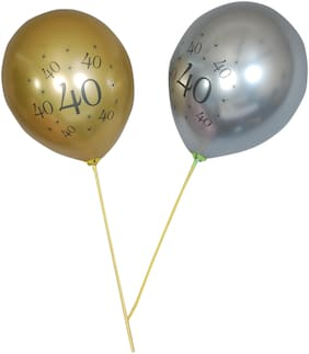 Hippity Hop 40th Printed 12 Inch Latex Chrome Balloons for Happy Birthday Decoration;Anniversary Milestone Birthday;Functions and Party Occasion (Pack of 10)