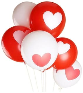 HK Balloons Printed Heart Shape For Wedding, Lovers, Birthday Parties Decoration(Pack of 30) (Red & White) Balloon