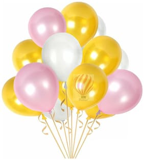 HKBalloons 100pcs Metallic Gold Pink & White Latex Balloons 22.86 cm (9 inch) |Quality  Thick Party Decorations Birthdays  Anniversaries & Weddings (Gold  Pink & White  100)