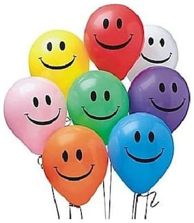 HKBalloons Multi Color Smiley Balloons (Pack of 30) Birthday Balloons For Decoration