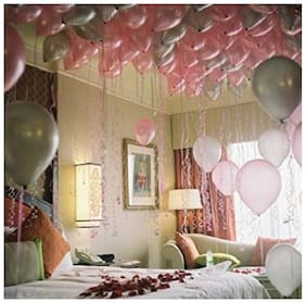 HKBalloons Metallic Pink, Silver Balloon (Pink & Silver Pack of 50)Birthday Balloons For Decoration