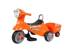 HLX-NMC 3-6 years 6v single motor Battery Operated 3 wheel Musical and Comfort Bike with Trunk and Trailer for kids - Orange