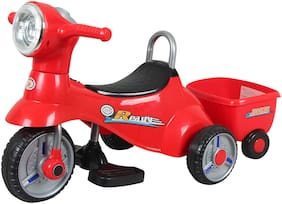 HLX-NMC 3-6 years 6v single motor Battery Operated 3 wheel Musical and Comfort Bike with Trunk and Trailer for kids - Red