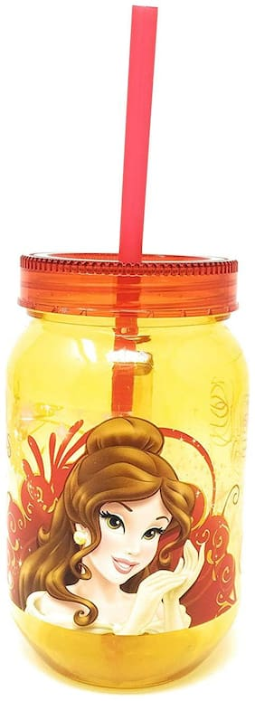 HM International GENUINE Licensed Disney Belle Princess Jar with Straw