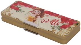 HMI Disney Belle Princess multi-functional Pencil Box with both side Magnetic locking and a Sharpener inside