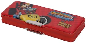 HMI Disney Mickey Mouse multi-functional Pencil Box with both side Magnetic locking and a Sharpener inside