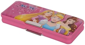 HMI Disney Princess multi-functional Pencil Box with both side Magnetic locking and a Sharpener inside