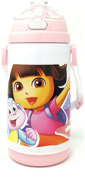 HMI GENUINE Licensed Dora Character Push Button Double Wall Sipper Water Bottle;600ml
