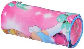 HMI GENUINE Disney Cinderella Princess PVC Embossed Pencil Pouch / Pencil Bag;Round Cylindrical Shaped