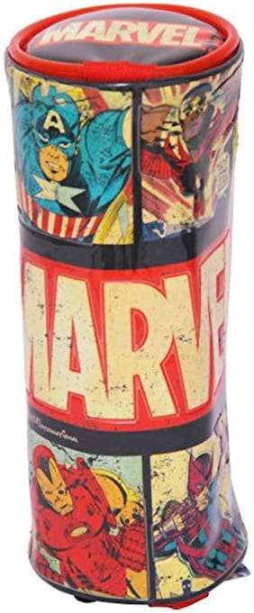HMI GENUINE Marvel Avengers PVC Embossed Pencil Pouch / Pencil Bag;Round Cylindrical Shaped