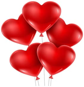 HMS-PRO Solid Cute Red Heart Shape Balloons Party Balloons for Birthda