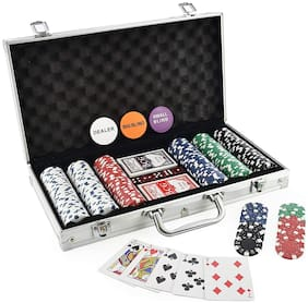 Honeybun 300 pcs Casino Style Poker Chips Set with an Aluminum Finish Case;2 Decks of Cards;5 dice;1 Dealer Button (Classic Multiplayer Game)