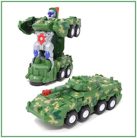 Honeybun Automatic Deformation 2-in-1 Transforming Army Tank Robot with Light;Music and Bump Function