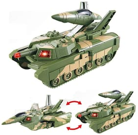 Honeybun Automatic Deformation 2 in 1 Battery Operated Tank and Jet Fighter Airplane Toy with Lights, Shooting Music and Bump
