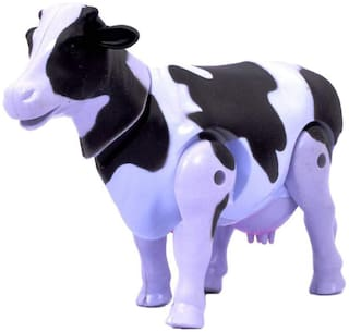 Honeybun Battery Operated Walking Milk Cow Toy with Lights and Sound for Kids