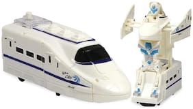 Honeybun Bump N Go Action Transforming Robot Bullet Train Two-in-One Toy with Realistic Train Engine Sound and Lights Toy