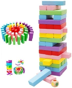 Honeybun Challenging Color Wooden Blocks Tumbling Stacking 54 Pcs Dices Board Educational Puzzle Game for Adults and Kids