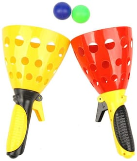 Honeybun Click and Catch Twin Ball Game Indoor Outdoor Games Toys Set for Kids