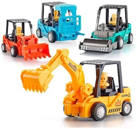 Honeybun Construction Toys 4 Pack Set with Excavator, Bulldozer, Road Roller, Lift Truck Toys, Friction Powered Push and Go Toy
