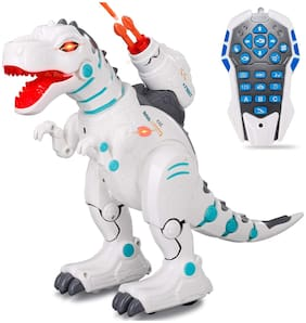 Honeybun Electric Remote Control Waking Robot Dinosaur Toy for Kids - Fire Spray Effect;On Wheels;Wireless Remote Control;Sound & Music;Intelligent Robot Programming Early Education Toy