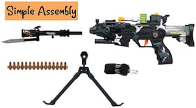Honeybun Fire Military Style Army Combat Commando Force Assault Rifle Machine Toy Gun with Lights & Sound