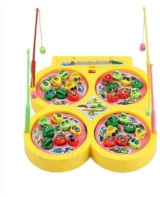 Honeybun Fish Catching Game with Sound;Include 32 Pieces Fishes and 4 Fishing Rod;Musical Fishing Games for Kids