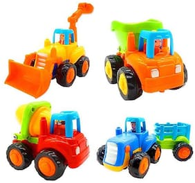 Honeybun Friction Powered Cars;Push and Go Toy Trucks Construction Vehicles Toys;Dump Truck;Cement Mixer;Bulldozer;Tractor;Early Educational Cartoon (Set of 4)