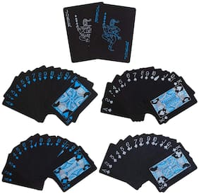 Honeybun Playing Cards Waterproof Plastic PVC Poker Black Table Cards;Classic Magic Tricks Tool Deck (52+2 Pcs.)