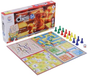 Honeybun Premium Quality 5 in 1 Chess Junior Deluxe Board Game Board Size: 11 Inches * 11 Inches Chess;Ludo;Snakes & Ladders;Cricket;Car Rally