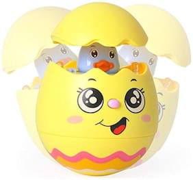 Honeybun Push and Shake Wobbling Rolly Polly Tumbler Musical Egg Toy for Early Years of Kids