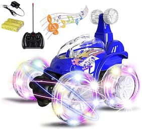 Honeybun R/C Rechargeable 360 Degree Twisting Stunt Car with Music & Lights for Kids