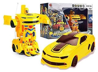 Honeybun Rechargeable Remote Control Transformer Converting car to Robot Action Figure with 360° Rotation Deformation Autobots Toy