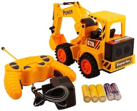 Honeybun Remote Control JCB Excavator Truck Construction Vehicle Toys with Rechargeable Battery