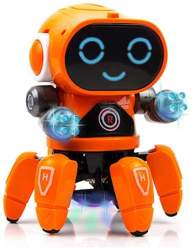 Honeybun Smart Bot Robot with Music;7 Colour Disco Lighting;Hand Movement with 6 Spider Legs Smiling face for Kids & Babies (Orange)