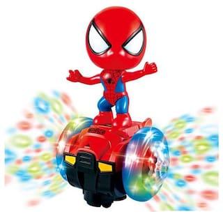 Honeybun Spider Man Music 3 D Lights 360 Degree Rotate Stunt Toy Spider Man Car for Kids