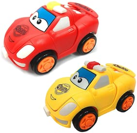 Honeybun Unbreakable Bright Color Mini Racing Converting Car to Robot Friction Toy for Kids (Pack of 2)