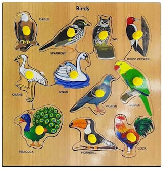 Honeybun Wooden Birds Colorful Learning Educational Puzzle Board