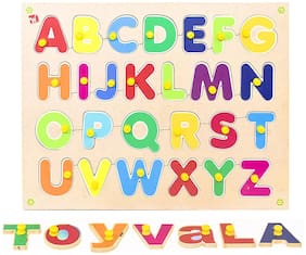 Honeybun Wooden Alphabet (A-Z) Colorful Learning Educational Puzzle Board
