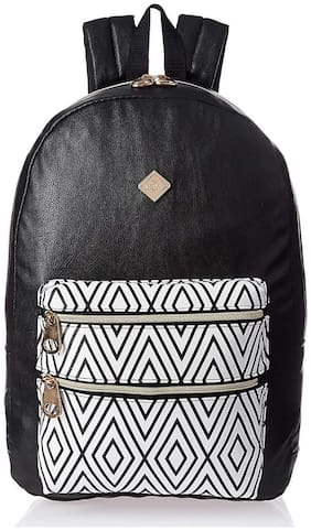 HOOM Classic Casual Printed PU Leather Unisex School Student Laptop Backpack Suits for Camping(black)
