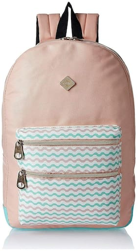 HOOM Classic Casual Printed PU Leather Unisex School Student Laptop Backpack Suits for Camping(peach)