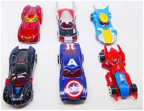 Shanaya Hot Diecast Metal Car Set Models Collection of Toy Avengers Cars for Children( 6 pcs Set)