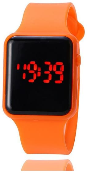 Hot Orange LED Digital Watch Kids Sport Wrist Watches for Girls Boys