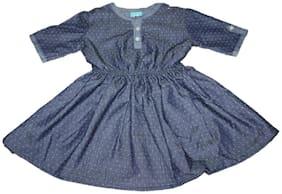 Hug Bugs Blue Denim Short Sleeves Knee Length Princess Frock ( Pack of 1 )