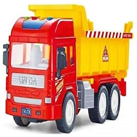 Huge Size Push and Go Toy for Kids, Dumper Truck with Sound and Lights Dumper Truck Toy with Friction Powered Wheels for Kids