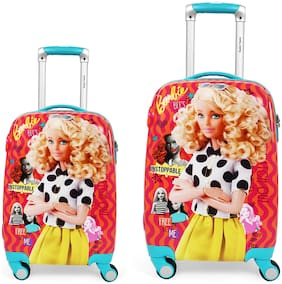Humty Dumty Barbie Retro Pink Polycarbonate Kids Hard Luggage Trolley Bag Set of 2 (18 & 22)