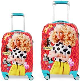 Humty Dumty Barbie Retro Pink Polycarbonate Kids Hard Luggage Trolley Bag Set of 2 (18 & 22)