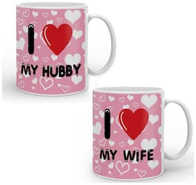I Love Hubby I love Wife Printed Best Couple Gift Love Heart Printed Anniversary Valentine Day Gift Coffee Mugs Set of 2Pcs